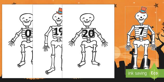 Skeletons Numbers 0 - 20 on Skeletons