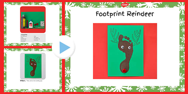 Footprint Reindeer Craft Instructions PowerPoint - footprint, reindeer, craft, instructions, powerpoint