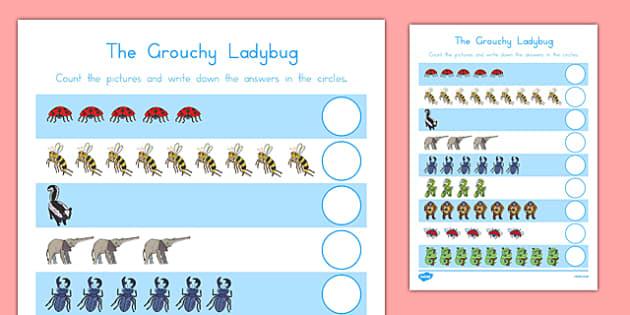 The Grouchy Ladybug Counting Sheet - usa, america, the grouchy ladybug, counting, count