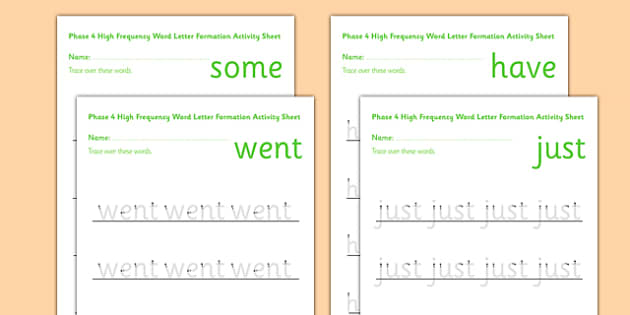 Phase 4 High Frequency Word Letter Formation Activity Sheet - phase 4, high frequency words, letter formation, activity, sheet, worksheet