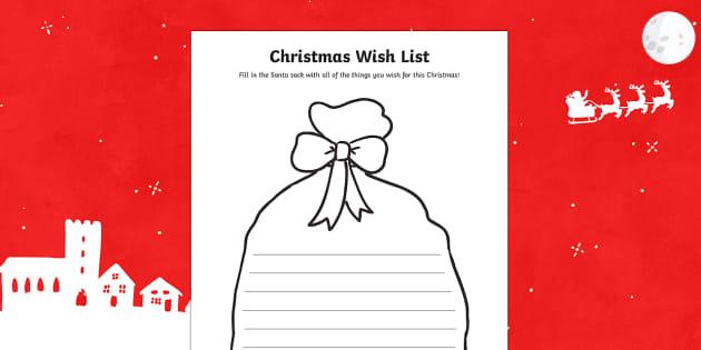 Christmas present wish list Activity Sheet