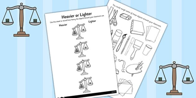 Heavier or Lighter Recording Worksheet - recording, worksheet