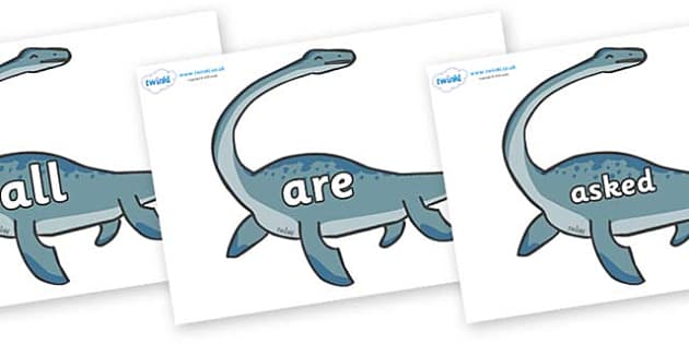 Tricky Words on Plesiosaur - Tricky words, DfES Letters and Sounds, Letters and sounds, display, words