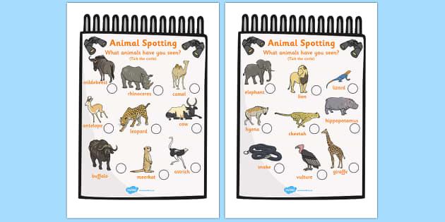 African Animal Spotting Sheet (Safari) - Safari, spotting sheet, worksheet, african animals, lion, cheetah, puma, jaguar, rhino, hippo, elephant, giraffe, antelope