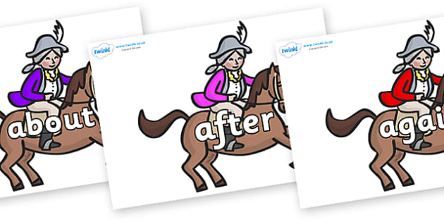 KS1 Keywords on King's Horses - KS1, CLL, Communication language and literacy, Display, Key words, high frequency words, foundation stage literacy, DfES Letters and Sounds, Letters and Sounds, spelling