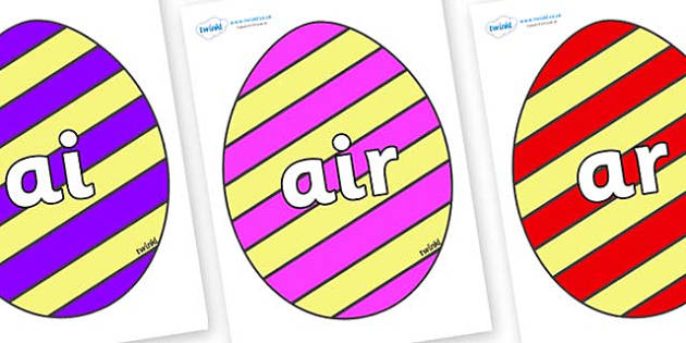 Phase 3 Phonemes on Easter Eggs (Stripes) - Phonemes, phoneme, Phase 3, Phase three, Foundation, Literacy, Letters and Sounds, DfES, display