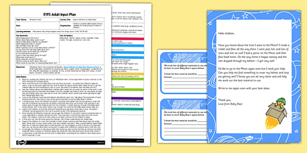 EYFS Space Helmets for Baby Bear Adult Input Plan and Resource Pack to Support Teaching on Whatever Next!