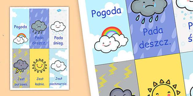 Plakat Pogoda po polsku - przedszkole, początkowe, klasa 1, klasa 2