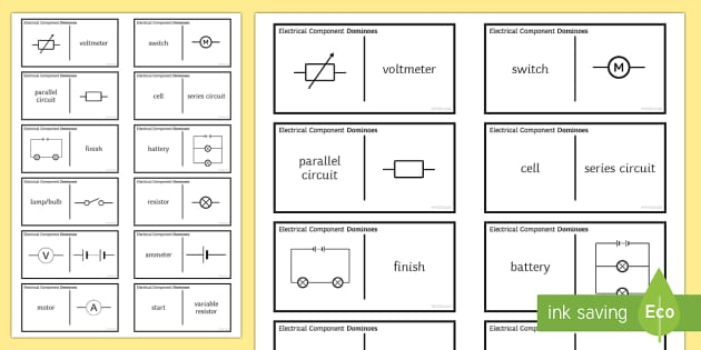 Electrical Component Dominoes - Tarsia, Dominoes, Electricity, Volts, Current, Resistance, Ohms, Amps, Circuits, Series, Parallel
