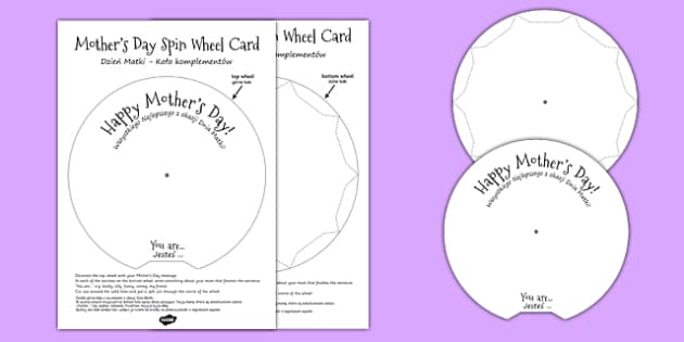 Mother's Day Spin Wheel Card Polish Translation - polish, mothering Sunday, mother, mum