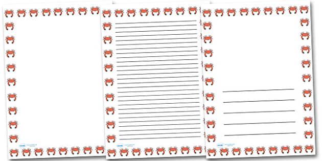 Crab Portrait Page Borders- Portrait Page Borders - Page border, border, writing template, writing aid, writing frame, a4 border, template, templates, landscape