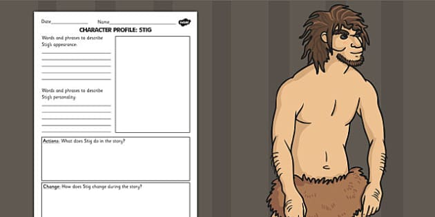 Stig of the Dump Stig Character Profile Writing Frame - story book, story, stig