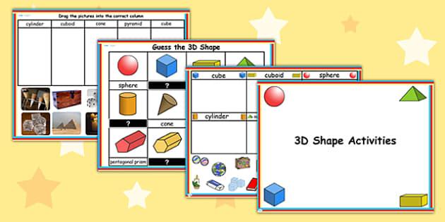 3D Shape Flipchart Activity Pack - 3d, shapes, shape, activities