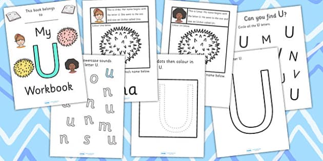 My Workbook U uppercase - workbook, U sound, uppercase, letters, alphabet, activity, handwriting, writing