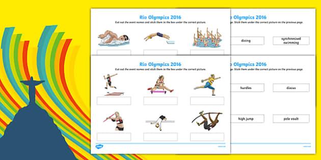 Rio Olympics 2016 Events Matching SEN Activity Sheet Pack, worksheet