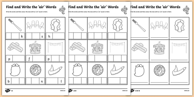 Find and Write the air Words Differentiated Activity Sheet Pack, worksheet