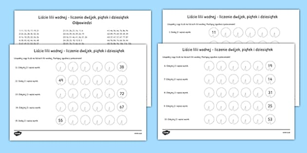 Lily Pad Counting in 2s, 5s and 10s Activity Sheets Polish - polish, lily pad, counting, 2, 5, 10, activity, worksheet