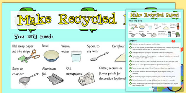 Make Recycled Paper Instruction Sheet - paper, recycled, intruction sheet, make