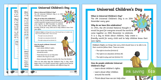 KS1 Universal Children's Day Differentiated Fact File