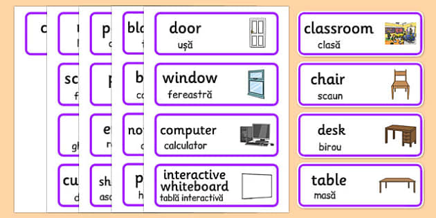 Classroom Word Cards Romanian Translation - romanian, classroom, word cards, word, cards