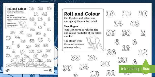 Australia Day Colour and Roll Worksheet - australia, colour, roll