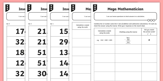 Addition and Subtraction Three-Digit Numbers Activity Sheet - opposite, inverse, reverses, calculation, operation, take, take-away, less, minus, subtract, differe