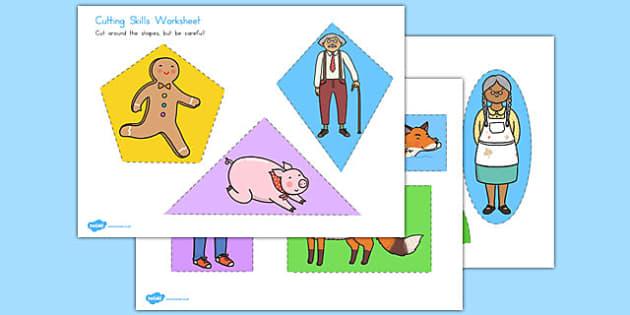 The Gingerbread Man Themed Cutting Skills Worksheet - australia, cutting, scissors, fine motor, gingerbread