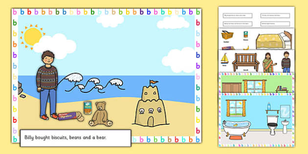 Silly B Sentence Cut and Stick Pictures - silly b, sentence, cut and stick, pictures