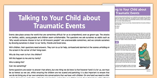 Talking to Your Child about Traumatic Events - talking, child, traumatic, events, terrorist, terrorism