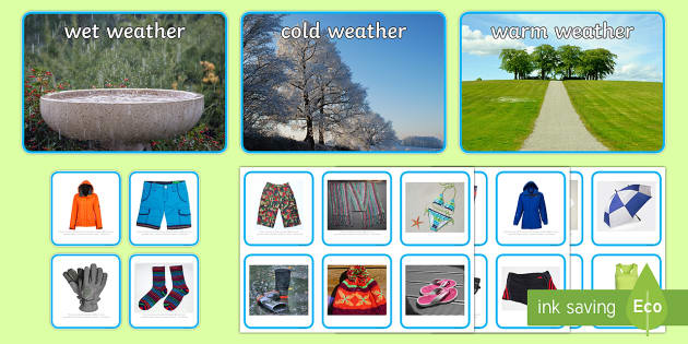 Photo Weather Clothes Sorting Activity - photo, weather, clothes, sorting, activity