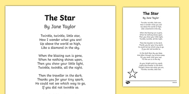 The Star by Jane Taylor Poem Print Out