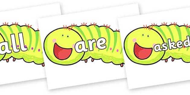 Tricky Words on Crunching Munching Caterpillar to Support Teaching on The Crunching Munching Caterpillar - Tricky words, DfES Letters and Sounds, Letters and sounds, display, words