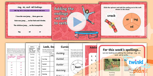 PlanIt Y1 Term 1A W3: Adding -ing, -ed and -er Spelling Pack