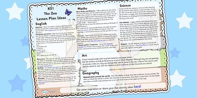 The Zoo Lesson Plan Ideas KS1 - zoo, animals, lesson plan, KS1