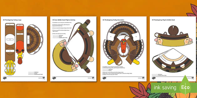Simple 3D Thanksgiving Printable Pack Paper Craft
