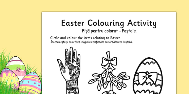 Easter Colouring Activity Sheet Romanian Translation - romanian, easter, colour, RE, religion, worksheet