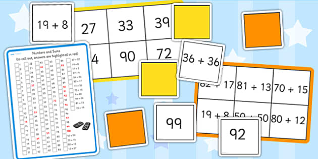 Maths Addition up to 100 Bingo and Lotto Pack - maths, bingo