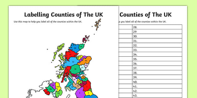 Labelling Counties of The UK Activity - label, county, counties, uk, united kingdom, activity