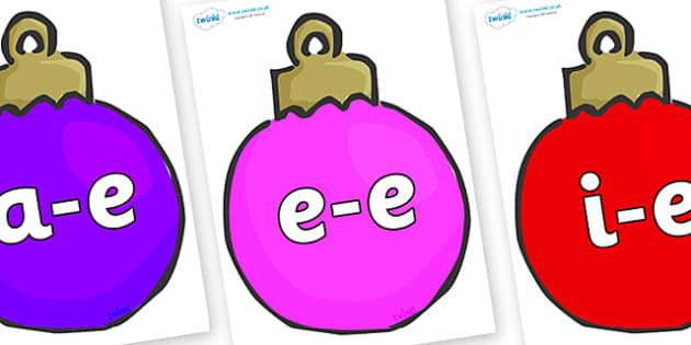 Modifying E Letters on Baubles (Multicolour) - Modifying E, letters, modify, Phase 5, Phase five, alternative spellings for phonemes, DfES letters and Sounds