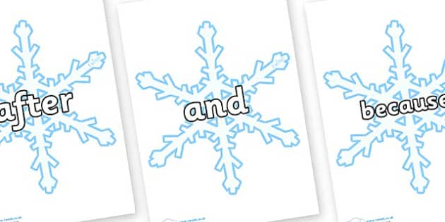 Connectives on Snowflakes (New) - Connectives, VCOP, connective resources, connectives display words, connective displays