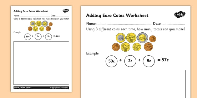 Euro Coins Worksheet money currency euros coin – Touch Money Worksheets