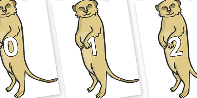 Numbers 0-100 on Meerkats - 0-100, foundation stage numeracy, Number recognition, Number flashcards, counting, number frieze, Display numbers, number posters