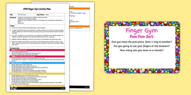 EYFS Pom Pom Sort Finger Gym Activity Plan and Prompt Card Pack