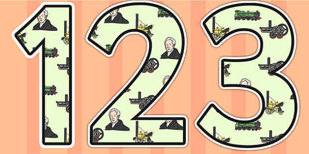 George Stephenson Themed Display Numbers - george stephenson, display numbers, themed number, classroom number, numbers for display, numbers for display