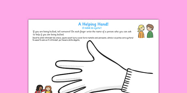 Helping Hand Bullying Worksheet Romanian Translation - romanian, helping hand, bullying, worksheet