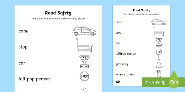 Road Safety Word and Picture Matching Activity Sheet