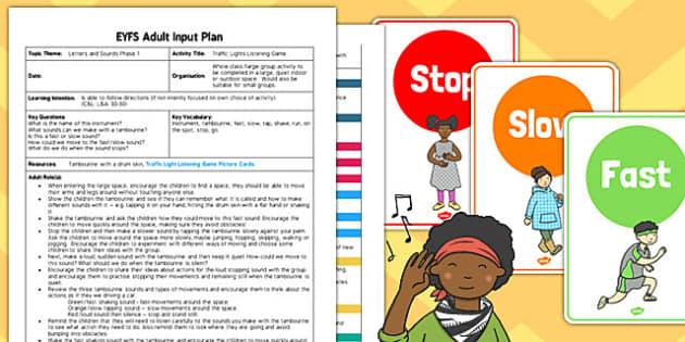 Traffic Lights Listening Game EYFS Adult Input Plan Resource Pack