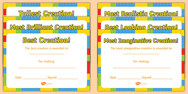Building Brick Creation Award Certificates