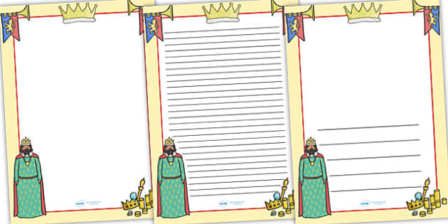 King Themed Page Borders - king, page borders, borders, writing