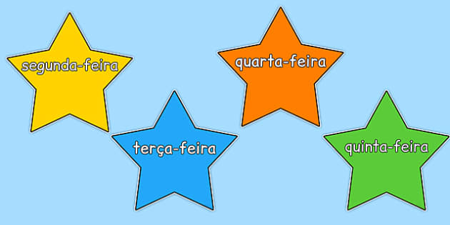 Multicoloured Stars Days of the Week Portuguese - portuguese, days, week, stars